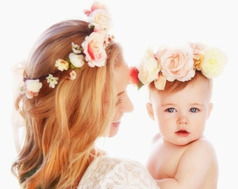 Mother daughter flower crowns 1st Birthday Baby photo shoot props -set of 2- Blush peach pink Mommy and Me halos hair wreath accessories