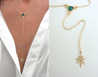 Marijuana Y necklace with green onyx - marijuana lariat  -  leaf Y necklace - weed necklace - gold-rose gold- silver - oxidized