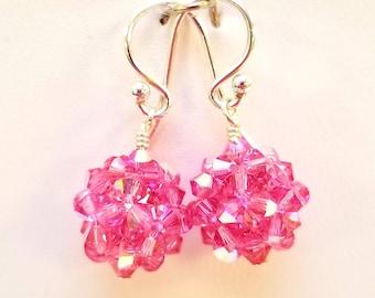 Rose AB, Crystal Ball, woven, Sterling silver, earrings, Swarovski, Rose, Pink, October, Birthstone