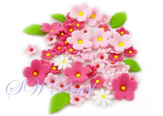 Sugar pink shade white flowers leaves set edible cake cupcake like this item mightylinksfo