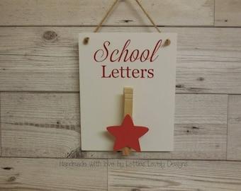 School letters plaque, Hanging / Magnet sign, fridge magnet, notice holder, letter storage, display, school notices, reminders