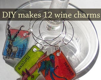 DIY Kit 12 Shrinky Dinks Animal Wine Charms for Adult Coloring Book Party Girls Night Art Therapy Geek Chic Date Night