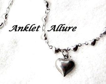 Silver Anklet BEACH PROOF Stainless Steel Ankle Bracelet Heart Anklets for Women GUARANTEED