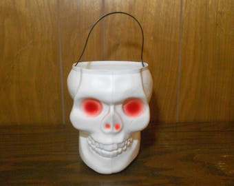 Vintage Empire Blow Mold Skull Halloween Trick Or Treat Pail
