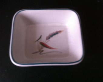 """Denby """"Greenwheat"""" Stoneware Tableware 5"""" x 4"""" Butter or Hors D'Oeuvre Dish signed by A College in excellent condition."""