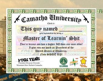 Camacho University Diploma (Idiocracy)