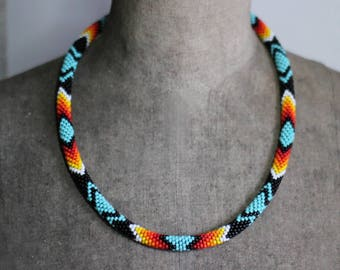 Black and Turquoise Native American Inspired Necklace, Handbeaded Rope, Bead Crochet Rope, Ethnic Beadwork, Navajo Inspired - MADE TO ORDER