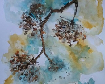Flower- Original watercolour and ink painting