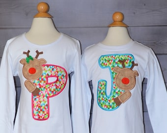 Initial with Reindeer Applique Shirt or Bodysuit Boy or Girl Choose your color!