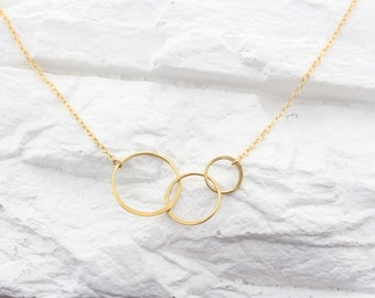 Gold circle necklace, intertwining three circles friendship necklace, three rings necklace, eternity Love, gold minimal, Past Present Future