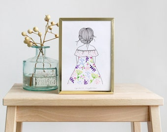 "Print illustration ""Flower dress"" Watercolor print esencia custome"