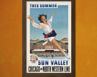 Sun Valley Travel Print 1941 - Vintage Travel Poster Travel Sun Valley Poster Ice Skating Snow Poster  t