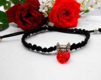 Red swarovski - adjustable black cord element Crystal heart charm bracelet