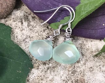 Silver Facet Blue Chalcedony Dangle Earring SRA - Bastet's Beads- Aqua Mist