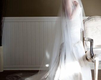 Sheer Drop Wedding Veil (Cathedral Veil, Illusion Bridal Veil, Blusher, Raw Edge Veil, Drape Veil, Long Veil, Waltz, Chapel)