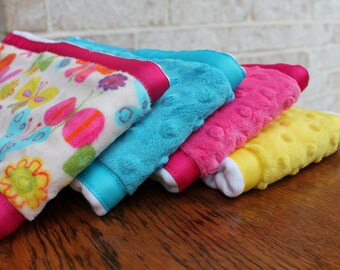Pick 3 Minky Burp Cloths - Butterfly Print Minky and Coordinating Pink Grossgrain Ribbon edging Hot Pink, Turquoise, Yellow Dimple Dot Minky