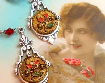 1800s BUTTON earrings, Victorian flowers on silver. Antique button jewellery. Present, gift.