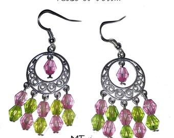 "Pearl chandelier earrings ""Green and pink"""