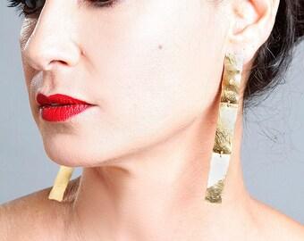 Statement Earrings, Modern Earrings, Gold Dangle Earrings, Statement Jewelry, Geometric Earrings, Bold Earrings, Long Gold Earrings
