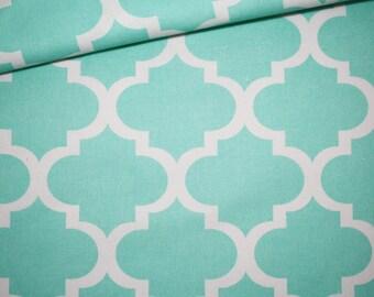 Moroccan lattice, 100% cotton fabric printed 50 x 160 cm, pastel turquoise Moroccan pattern