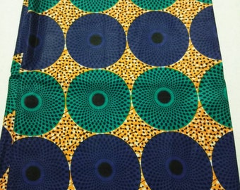 Per Yard Blue Circles Wax print fabric/ Nigerian Bull's eye fabric/ African fabrics for sewing/ African fabrics