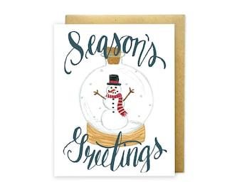 Seasons Greetings Snowman Snow Globe Illustrated Greeting Card - Holiday Greeting Card - Christmas Card - Hand Painted
