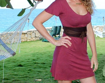 Organic Dresses - Faux obi belt dress  made from Organic Bamboo and Cotton- Custom made for you