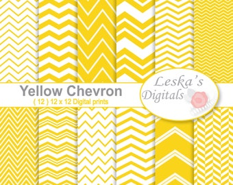 Yellow Chevron Digital Paper Pack, Digital Scrapbook Paper, yellow and white chevron digital, zig zag background, Yellow Digital Background