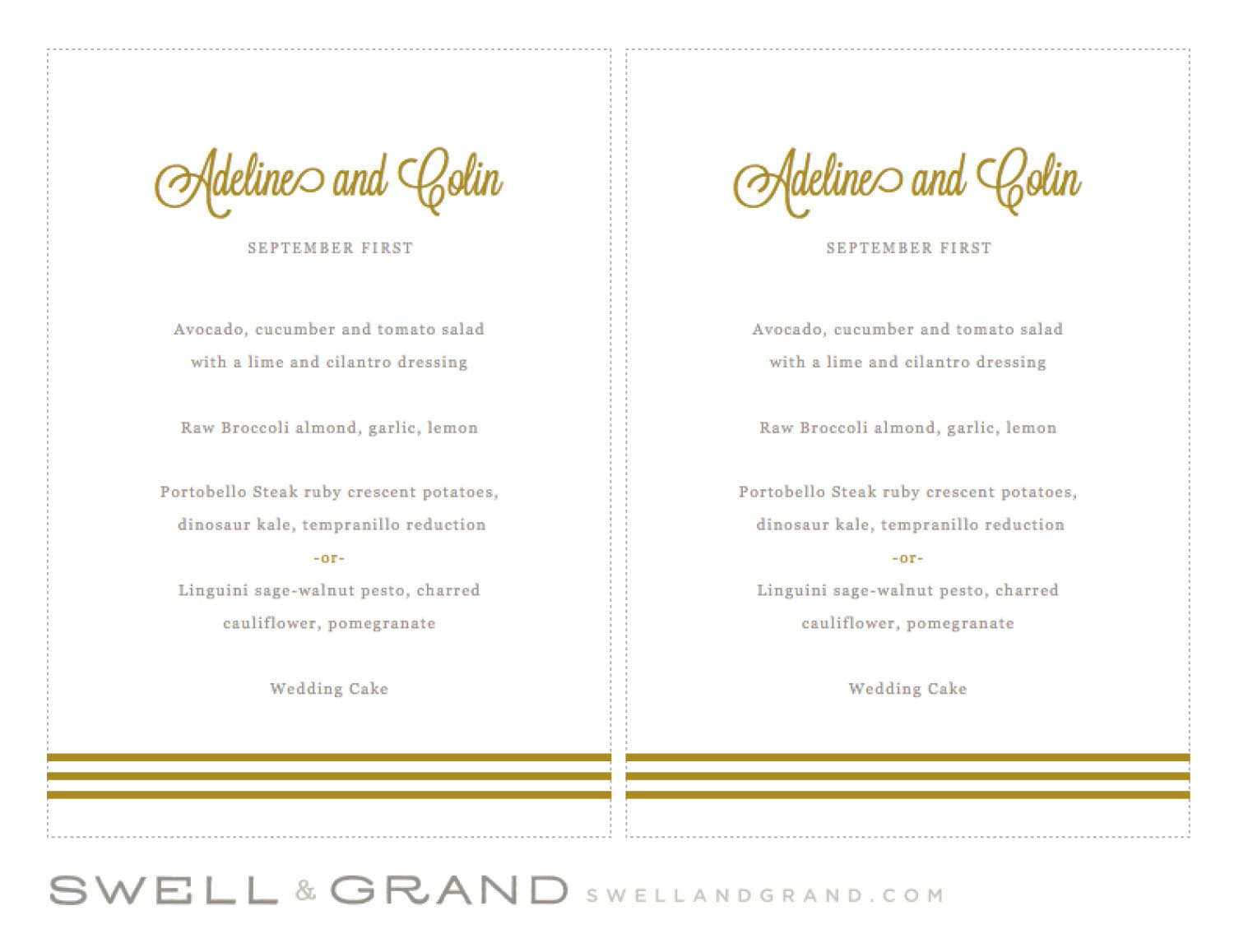 Printable Wedding Menu Template | INSTANT DOWNLOAD | Gold Script ...