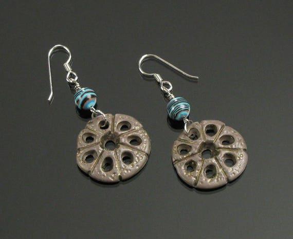 Rustic Honeycomb Earrings, Unique Boho Tribal Dangle Earrings, Turquoise & Brown Clay Earrings, Earthy Art Jewelry, Unique Boho Gift for Her