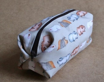 Guinea Pig Make Up Bag - Water Colour Guinea Pigs Design