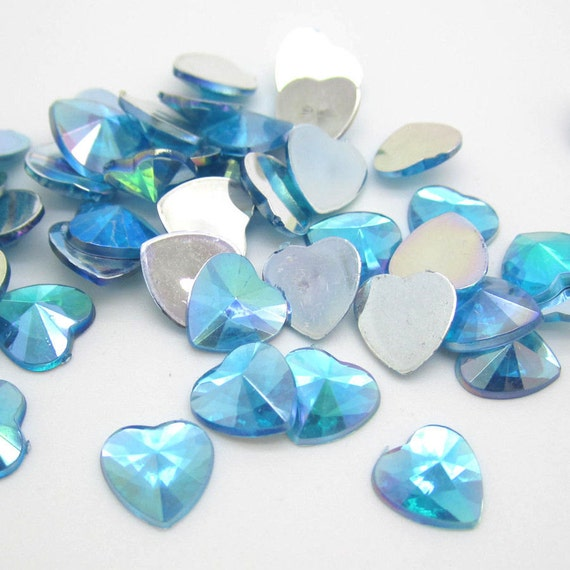 Sky Blue AB Heart Flat Back Pointed Rivoli Resin Rhinestones Embellishment Gems C15
