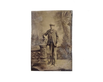 RESERVED - Vintage Tintype Photo of Young Man with Hat / Victorian Era Tintype Photograph
