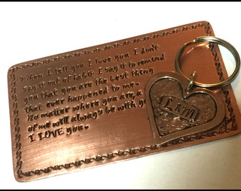 7th Anniversary Gift, Copper Wallet Insert, Anniversary Gift For Men Copper, Keychain Wallet Card, Heart Keychain, Wallet Insert Set