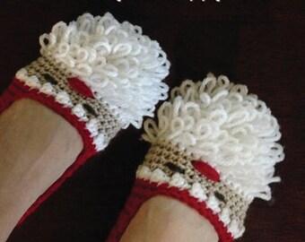 Crochet Pattern - Santa Claus Women Slipper for Christmas Winter Holiday Slip On Home Slipper Crochet Pattern Size 5 6 7 8 9 10 (SC05-R-PAT)