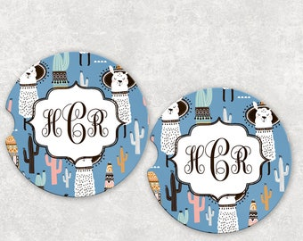 Car coasters monogram car coaster cupholder coaster coworker gift for her Valentine gifts llama gifts personalized llama coasters car