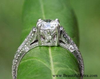 Certified PLATINUM Diamond Engagement Ring - 1 carat center stone - Cutstom made - Vinatage styel - weddings - brides - ART DECO - Bpt09