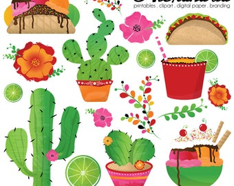 Taco Bout a Fiesta Digital Clipart - Personal & Commercial Use - Summer Mexican Clipart, Cinco De Mayo Graphics, Floral Cactus Images