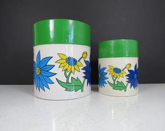 Retro Canisters Set // Vintage Pair of Floral Pattern Metal Food Storage Containers Green Blue Yellow White Mid Century Kitchenware Mod
