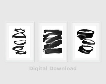 Black & White Abstract Art Print, Set of 3 Prints, Instant Download, Abstract Triptych Wall Art, Modern Poster, Printable Art, Minimalist