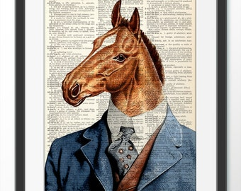 Cheval Art Print, Vintage dictionnaire Page impression, illustration de cheval, Art mural, décoration murale, Poster de cheval, peinture affiche