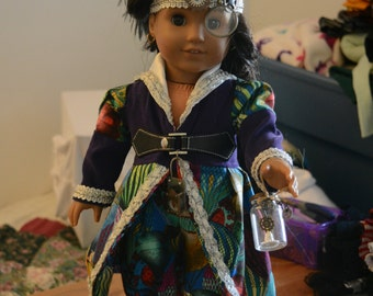 Doll clothes balloon pilot Steampunk  bright fabric hot air balloons purple, bloomers, jacket, hat, lantern , eye piece