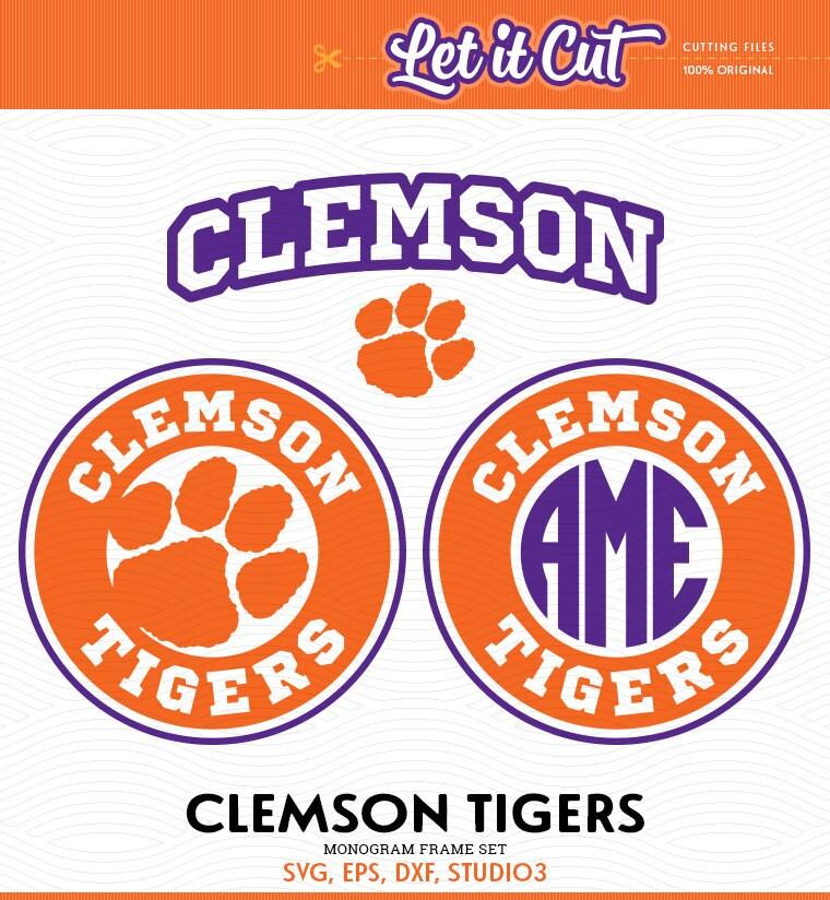 Clemson Tigers Monogram Frames SVG EPS DXF Studio3 Paw