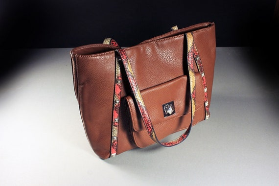 Brown Tote Bag, Ruby Rd., Handbag, Shoulder, Faux Leather, Front Compartment, Large Bag, Carry All