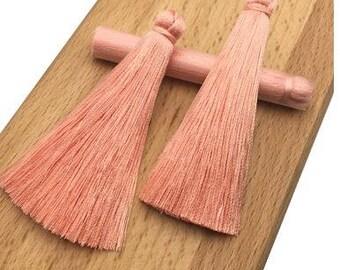 Silk Tassel, Tassle - Hand Knotted - Pale Peach - Focal, Pendant - Necklace - 10mm diameter x 75mm Length - 01 Tassel per Order