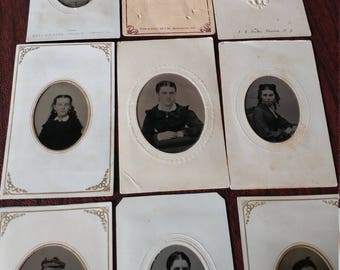 I Know Who Took That Picture:  Lot of 11 Antique Tintype Photographs in Paper Frames With Identified Photographers