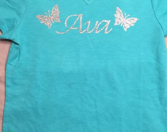 Name with Butterfly Girls Tee