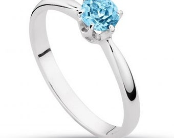 Solitaire Engagement Anniversary Ring 100% Swiss Blue  Topaz 5 mm Made in White or Yellow 14k Gold