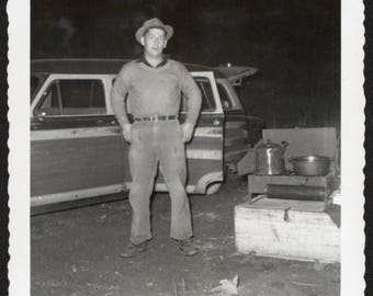 Vintage Snapshot Photo Camping Man Stands by Woody Station Wagon 1950's, Original Found Photo, Vernacuar Photography