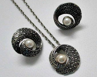 Pearl and Marcasite Vintage Necklace and Pierced Earrings - Vintage Bride Wedding Pearl Jewelry Gift